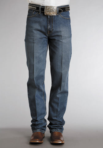 Mens Stetson Blue Cotton Blend Classic Stone Wash Straight Leg Jeans