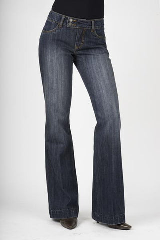 Stetson Womens Blue 100% Cotton Dark Wash City Trouser Flared Blasting Jeans