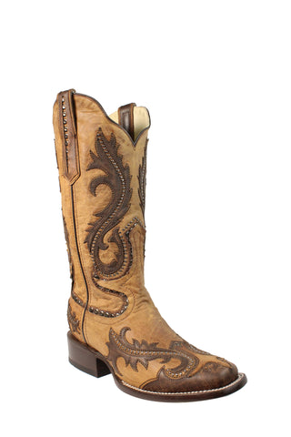 Corral Ladies Studs Tan Cowhide Leather Cowgirl Boots