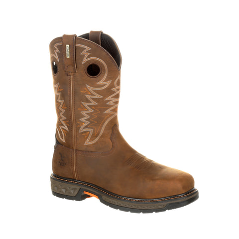 Georgia Mens Brown Leather CarboTec Pullon AT Work Boots