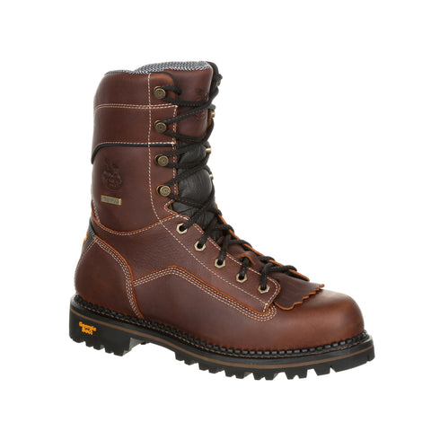 Georgia Mens Brown Leather SPR WP AMP CT Low Logger Boots