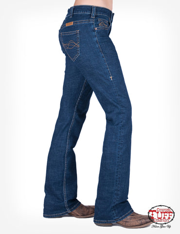 Cowgirl Tuff Womens Dark Wash Cotton Blend Jeans DFMI Delux