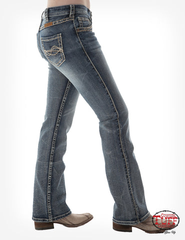 Cowgirl Tuff Womens Medium Wash Cotton Blend Jeans Timeless