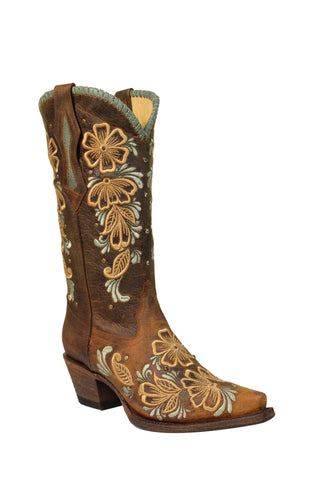 Circle G Urban Ladies Studs Brown Cowhide Leather Cowgirl Boots