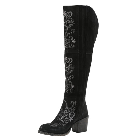 Miss Macie Ladies Black Leather Uptown Girl Fashion Boots Floral