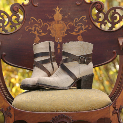 Miss Macie Ladies Beige Leather Sedona Fashion Boots Strappy