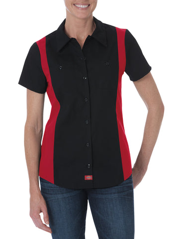 Dickies Womens Black/English Red S/S Industrial S/S Color Block Shirt