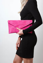 Suede Envelope Clutch Bag - Fuchsia, Bags - Pretty Lavish