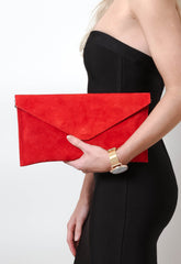 Suede Envelope Clutch Bag - Bright Red, Bags - Pretty Lavish