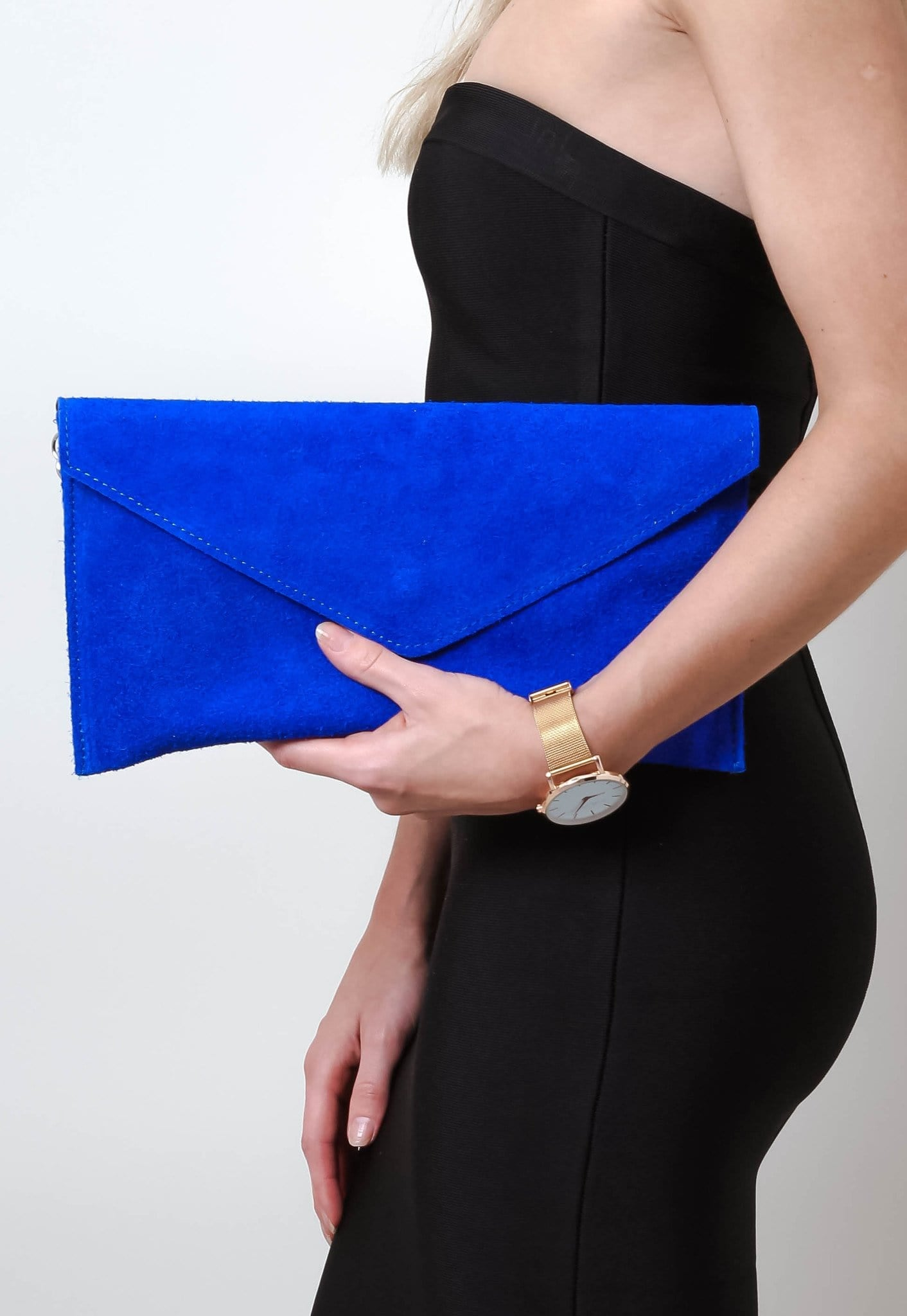 Suede Envelope Clutch Bag - Cobalt, Bags - Pretty Lavish