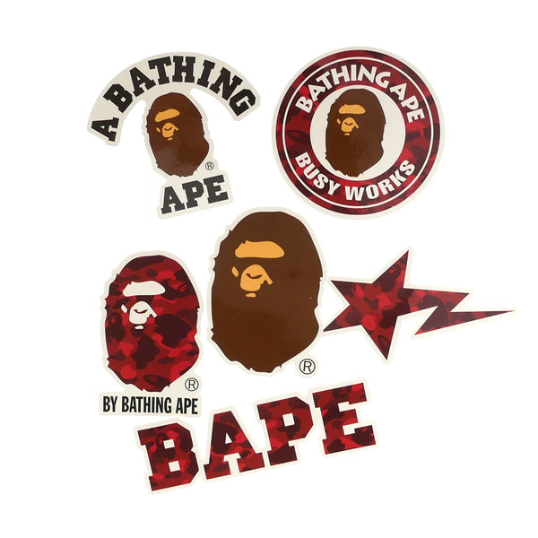 A BATHING APE BAPE RED STICKER SET