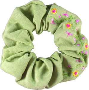 Embroidered Flower Scrunchie-Light Green