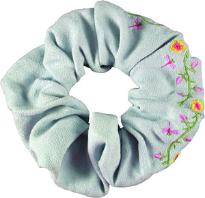 Embroidered Flower Scrunchie-Light Blue