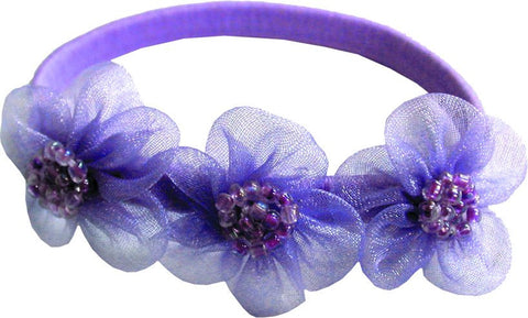 Bead Silk Flowers Flat Bands - Lavender