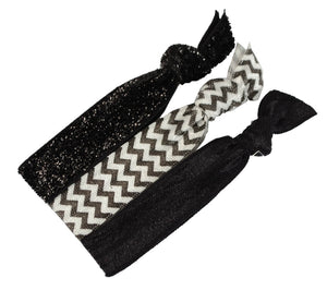 Knotted Ribbon Hair ties, 3pk Black