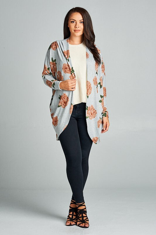Gray Floral Cardigan