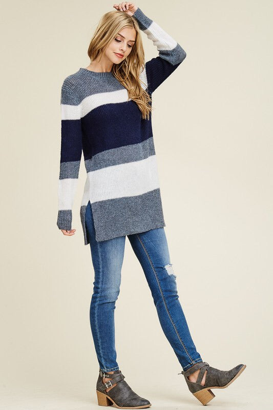 Colorblock Side Slit Sweater