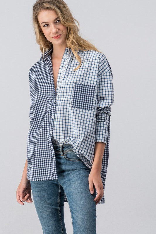 Blue Multi Plaid Button Up