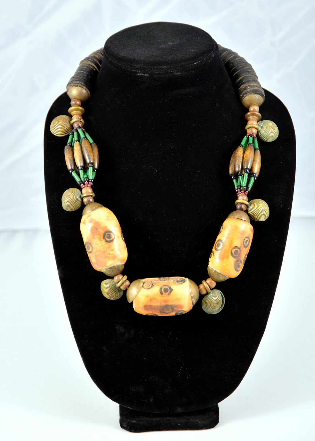 Carved Cow Bone Bead and Antique Brass Necklace - Inspired Luxe