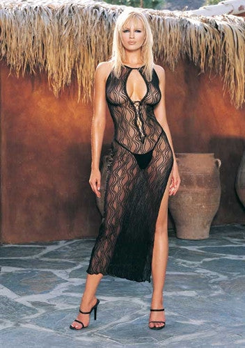 Swirl Lace Long Gown & G-String