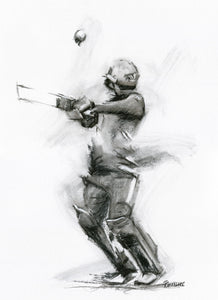 original charcoal cricket drawing of the cricket world cup