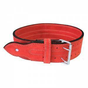 Power Weight Lifting Leather Belt- Red - ADER FITNESS