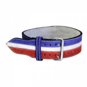 Power Weight Lifting Leather Belt- Red/White/Blue - ADER FITNESS
