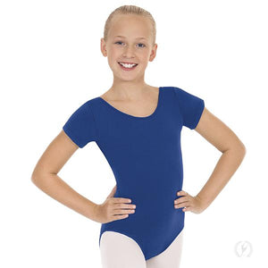 Girls Short Sleeve Leotard with Cotton Lycra®