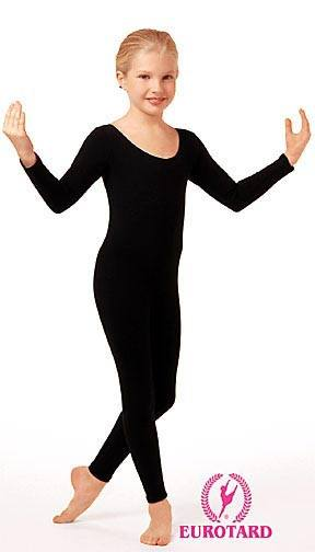 Long Sleeve Cotton Unitard Black
