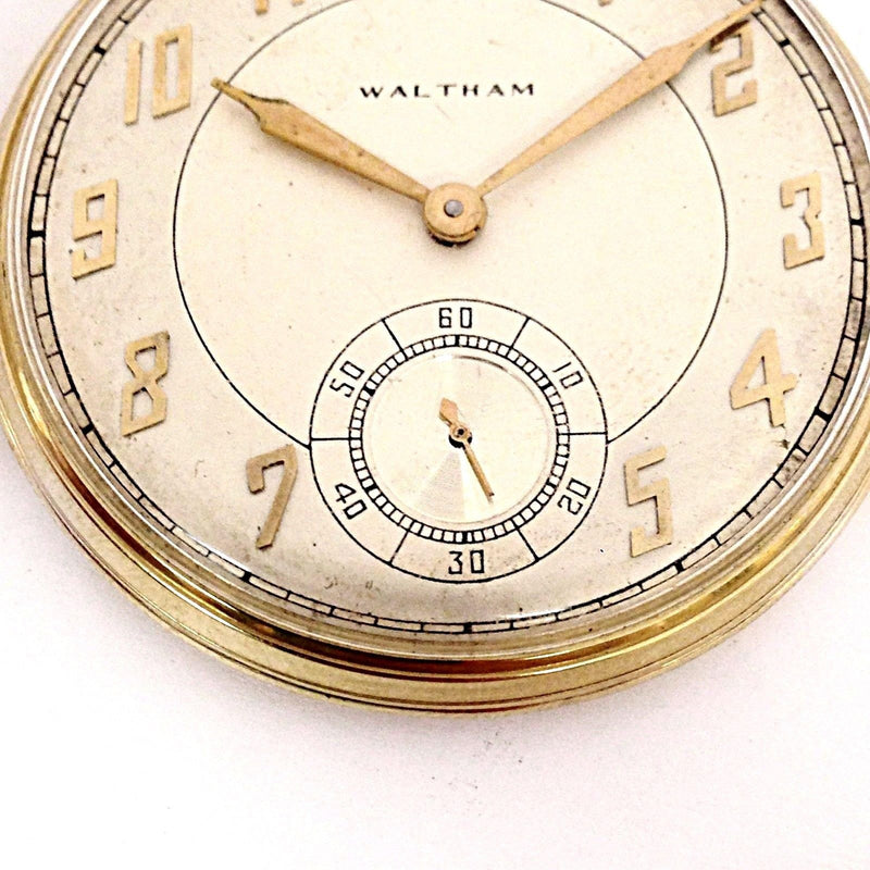 Vintage Waltham 14K Yellow Gold 21 Jewels 5 Positions Unique Pocket Watch