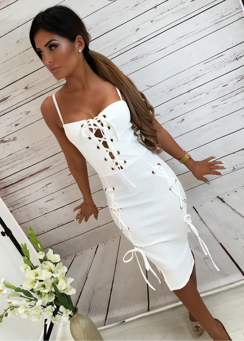 White Eyelet Lace up Dress