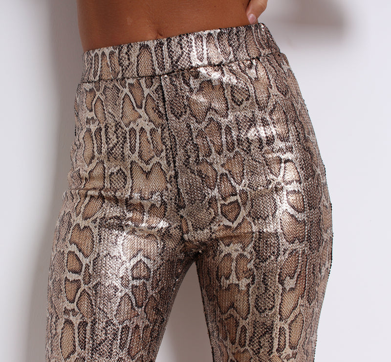 'Snake Out' Stretchy Sequin Pants