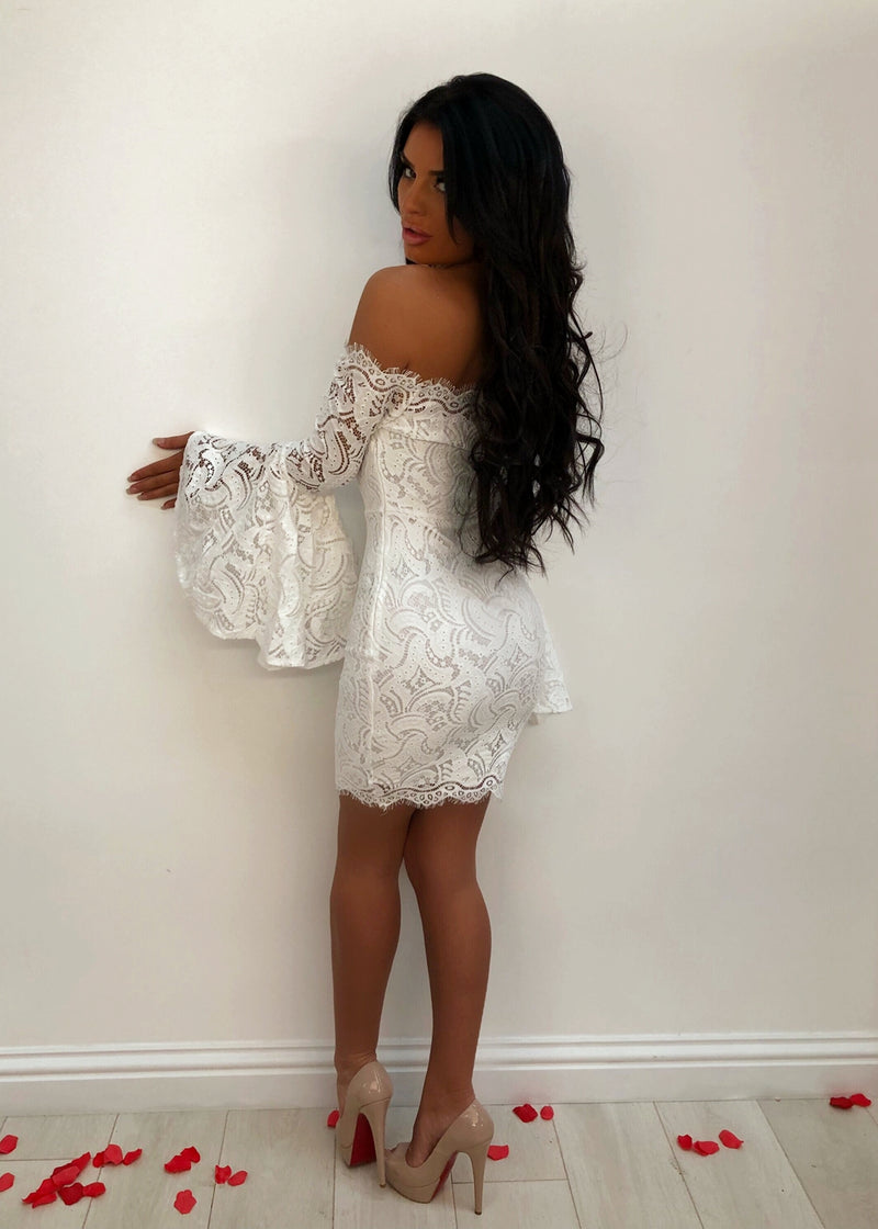 'Gardenia'' Off The Shoulder Dress - White