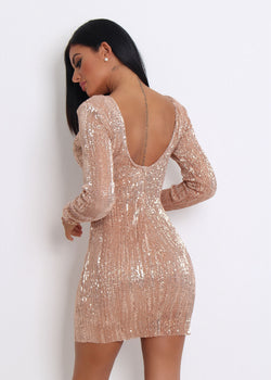 'Make An Entrance' Stretchy Sequin Dress - Rose Gold