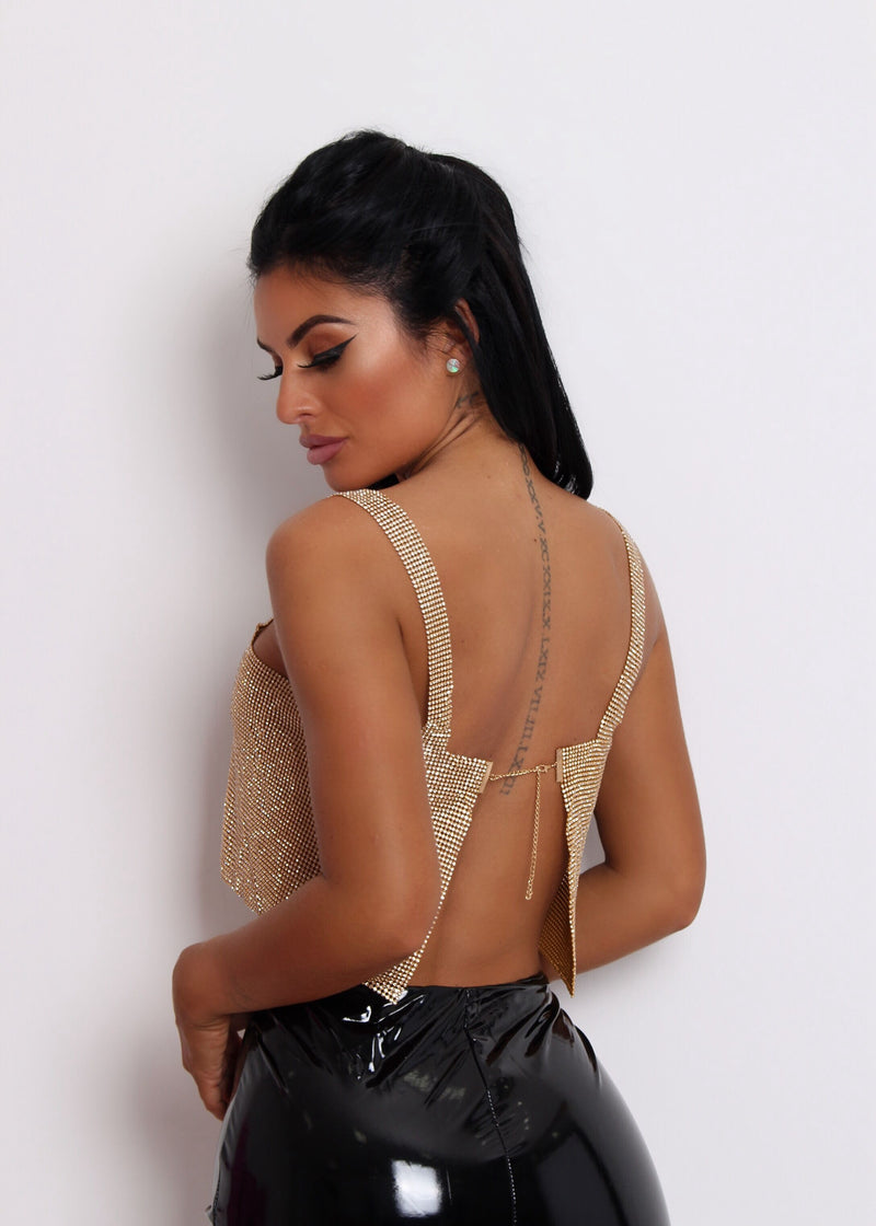 Well Behaved Diamante Top - Gold