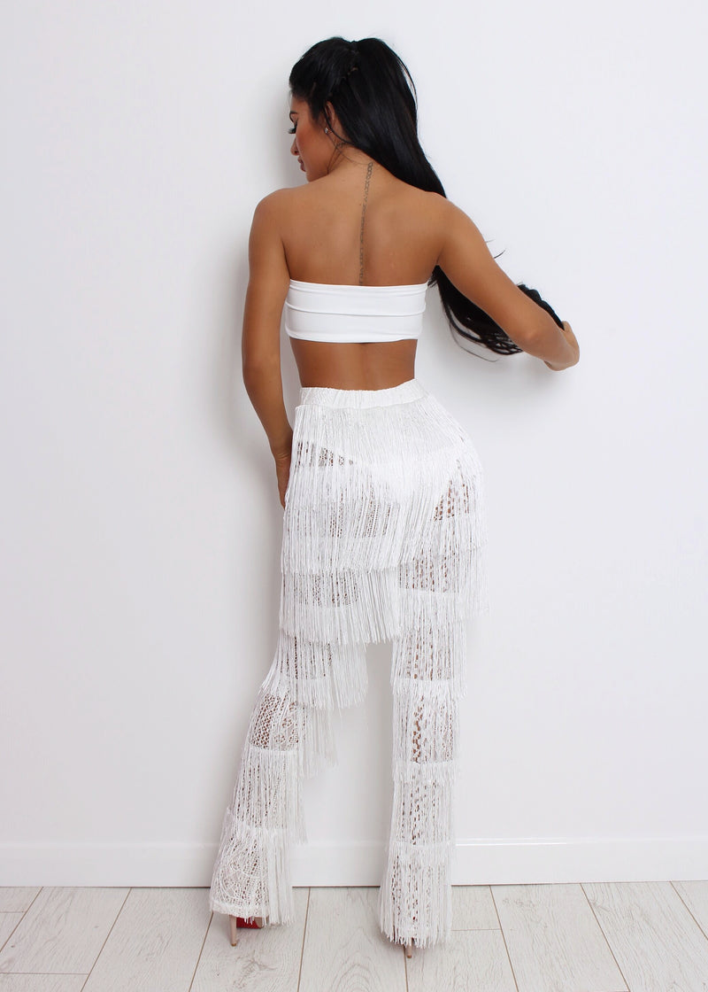 Sweet Revenge Fringe Two Piece - White