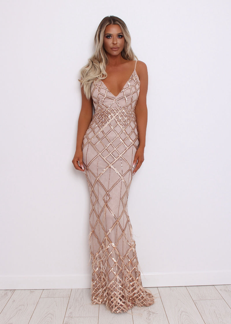 Ball Beauties Feather Gown - Nude