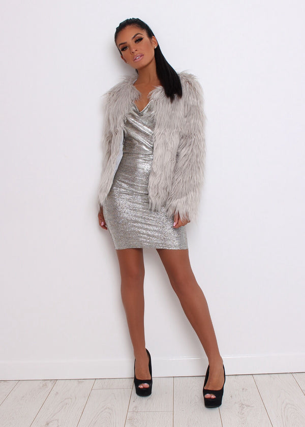 'Are You Fur Real' Faux Fur Coat - Grey
