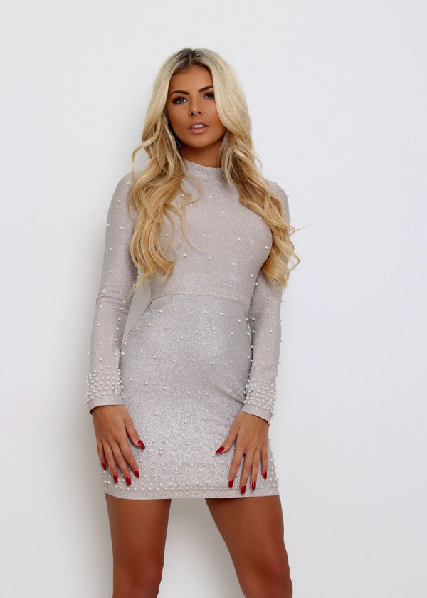 Perfectly Pearl Bandage Lurex Dress