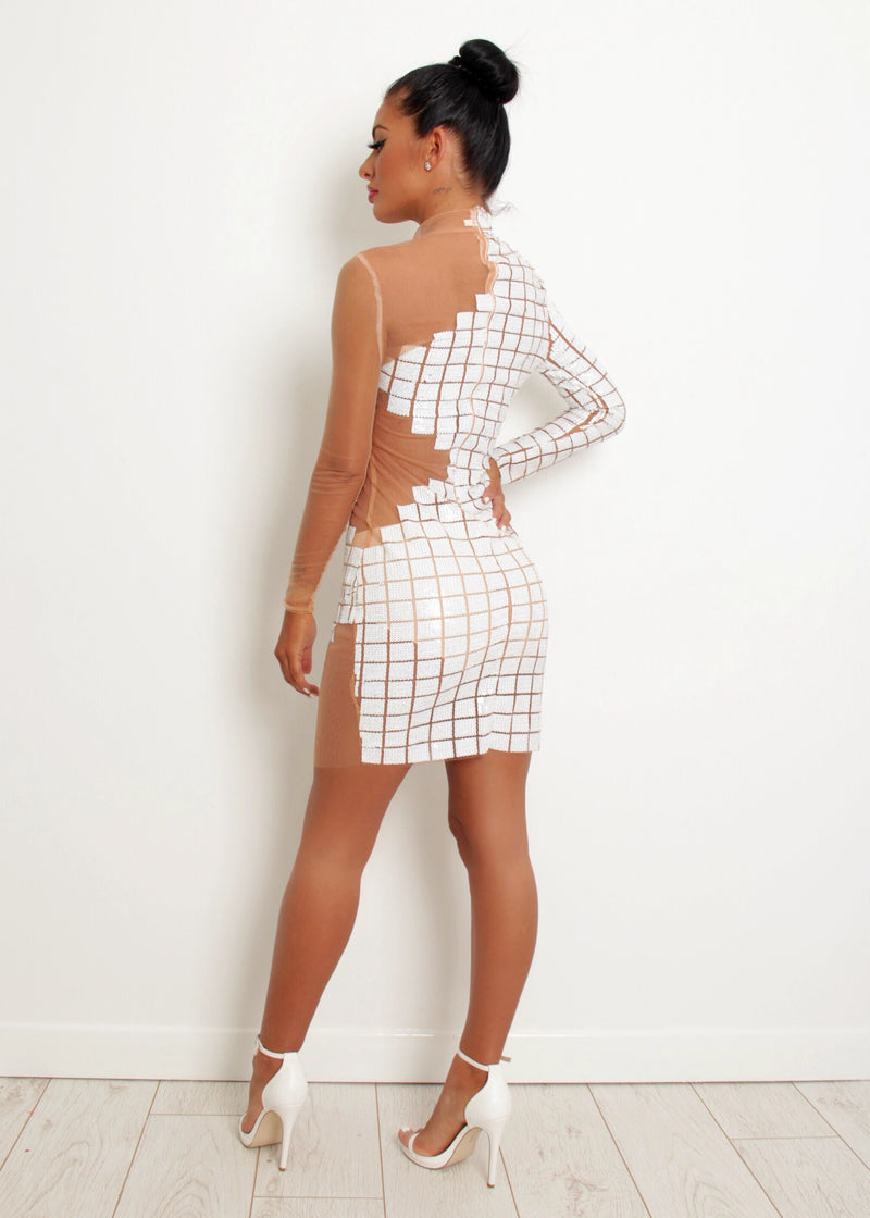 'A Million Dreams' Sequin Mesh Dress' - White