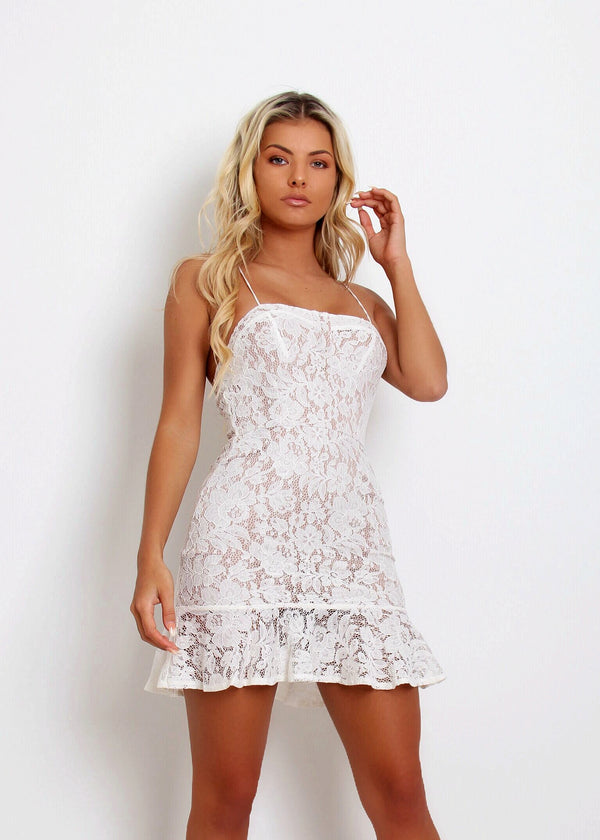 Prague Lace Skater Dress - White