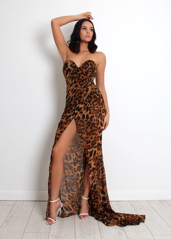 Safari Leopard Print Maxi Dress