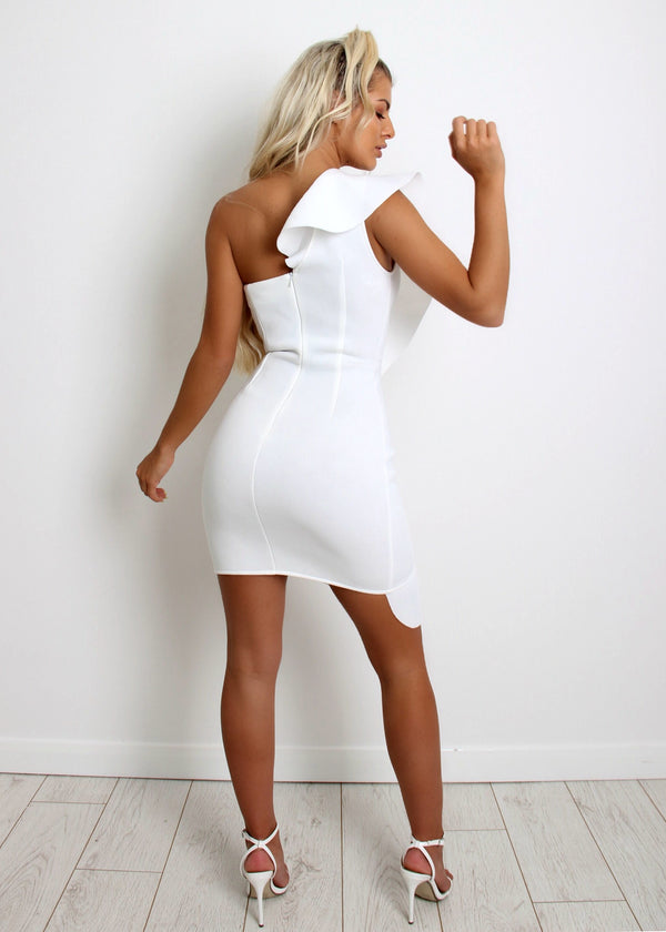 Fancy Frills Mini Dress - White