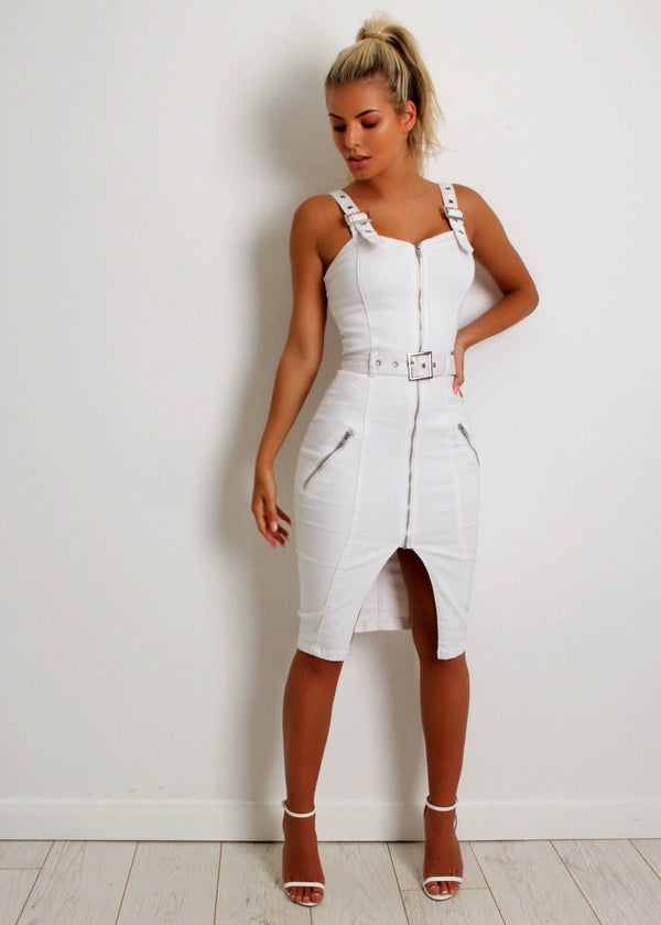 City Vibe Denim Dress -Off White
