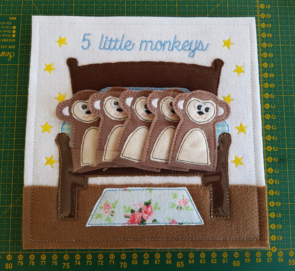 6X6 & 8X8 FIVE LIL MONKEYS ITH QUIET BOOK PAGE