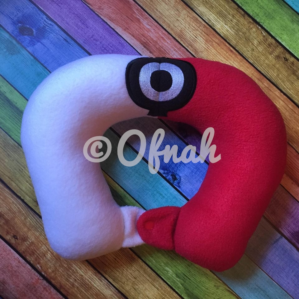 6X10 & 8X12 POKE RED AND WHITE BALL NECK PILLOW