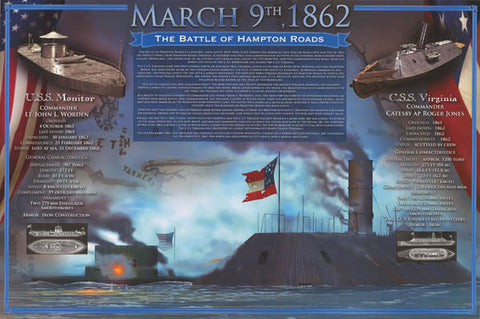 Civil War Battle of Hampton Roads Poster