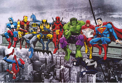 Superheroes on A Skyscraper Poster
