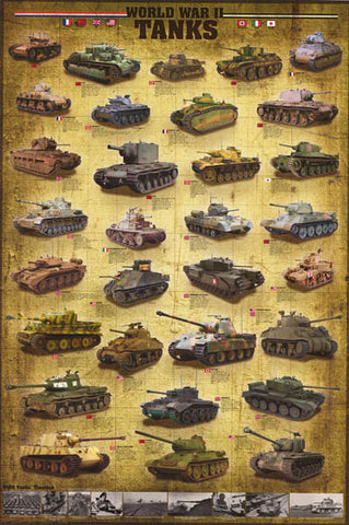 WWII Tanks Armored Vehicles Poster