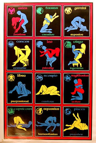 Astrology Zodiac Sex Positions Blacklight Poster